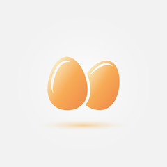 Yellow vector eggs icon - poultry vector symbol