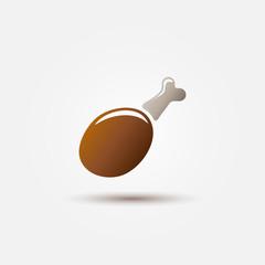 Bright vector chicken leg icon - farm bird poultry symbol