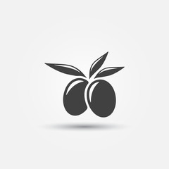 Olive with leaves icon - simple vector icon