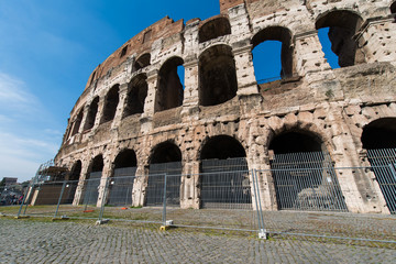 Famous colosseum on bright summer day