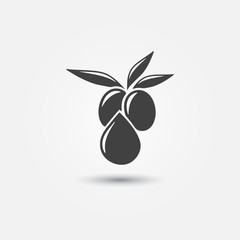 Olive Oil icon - vector olive with leaves symbol