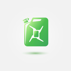 Green auto gasoline tank vector icon - canister simple symbol