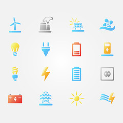 Bright vector energy icons - set of simple electricity symbols