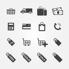Shopping Icons - vector set of e-commerce symbols
