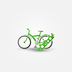Bicycle repair - vector green bike symbol