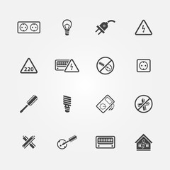 Electricity icons - vector set of home electricity symbols