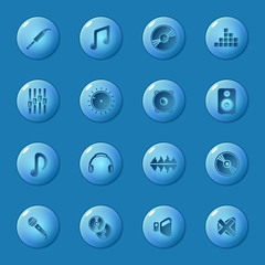 Sound icons set - vector glossy music buttons