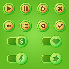 Green game design interface vector buttons for game developmet