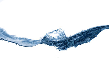 Clear, blue splashing water on white isolated