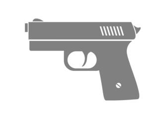 Grey gun icon on white background