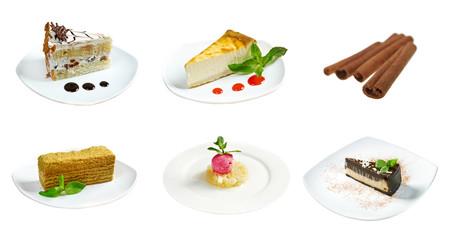 Food set of different  sweet dessert