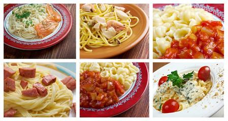 Food set of different  italian pasta.