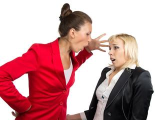 Business lady yelling at subordinate