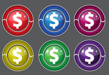 Dollar Currency Sign Square Colorful Vector Button Icon Set