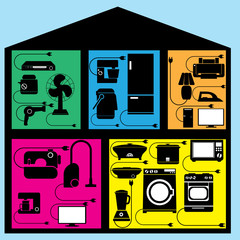 Home appliances are black in the room. A portion of the house