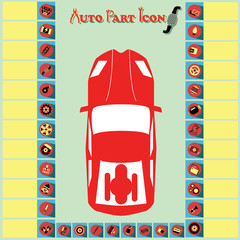 Red and yellow car parts icons