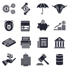Business and finance theme, black and white icons.