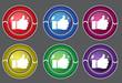 Thumbs Up Circular Vector Colorful Web Icon Set Button