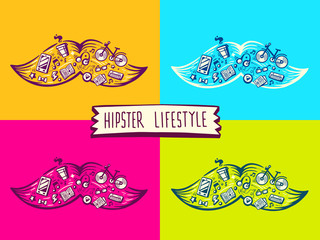 vector illustration of set big mustache of hipster life style wi