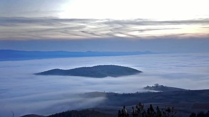 Mist moving in famous Austria alps, timelapse