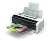 Color printer prints photo on white isolated background. - 69811836
