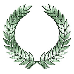Green metallic Laurel Wreath on white