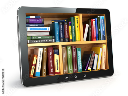 E-learning.  Tablet pc and textbooks. Education online. - 69811848
