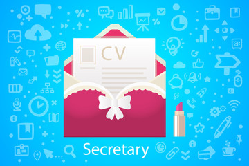 Vector illustration of character envelope office occupation with