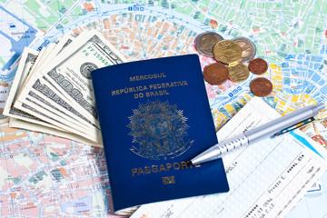 Brazilian passport, money and ticket