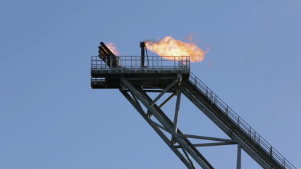 Gas flare tower on an offshore oil rig