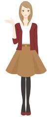 案内 紹介をする秋服の女性