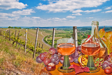 Umtrunk im Weinberg mit Bocksbeutel und Weinrömer