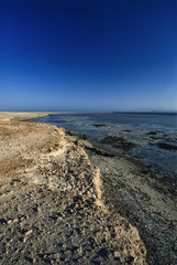 Egypt, Red Sea, small coral reef island off the coast