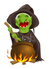 Cartoon of a witch stirring concoction in the cauldron