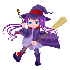 Cute cartoon of witch with her broom and magic wand