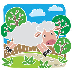 Children vector illustration of little sheep