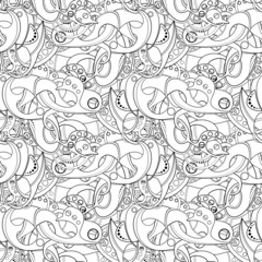 Vector Seamless Monochrome Abstract Pattern. Hand Drawn Texture