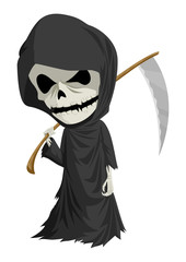 Cartoon illustration of grim reaper with scythe