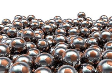 Metal soccer balls pile
