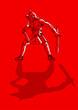 Sketch illustration of a gladiator on red background