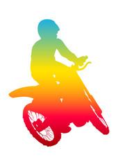 Pop art illustration of a man riding motocross