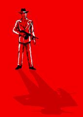 Sketch illustration of a man holding a tom gun