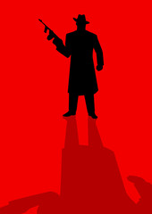 Silhouette illustration of a male figure holding a tom gun