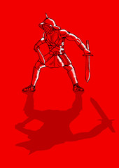 Sketch illustration of a gladiator on red background