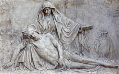 Brussels -  The marble relief of Pieta