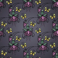 Seamless Ornate Floral Pattern with Butterflies (Vector)