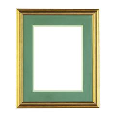 golden photo frame isolated