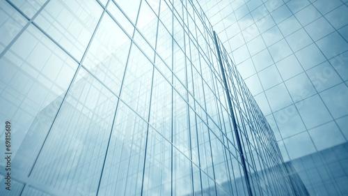 Skyscraper's blue glass walls - 69815689