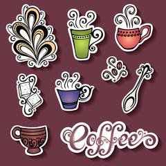 Vector Set of Stickers with Ornamental Coffee Cups, Patterned de