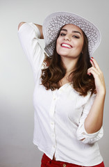 pretty woman with hat